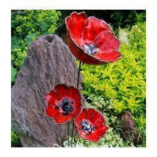Mohn Keramik Poppies Blumen Garten Ton Rot Set