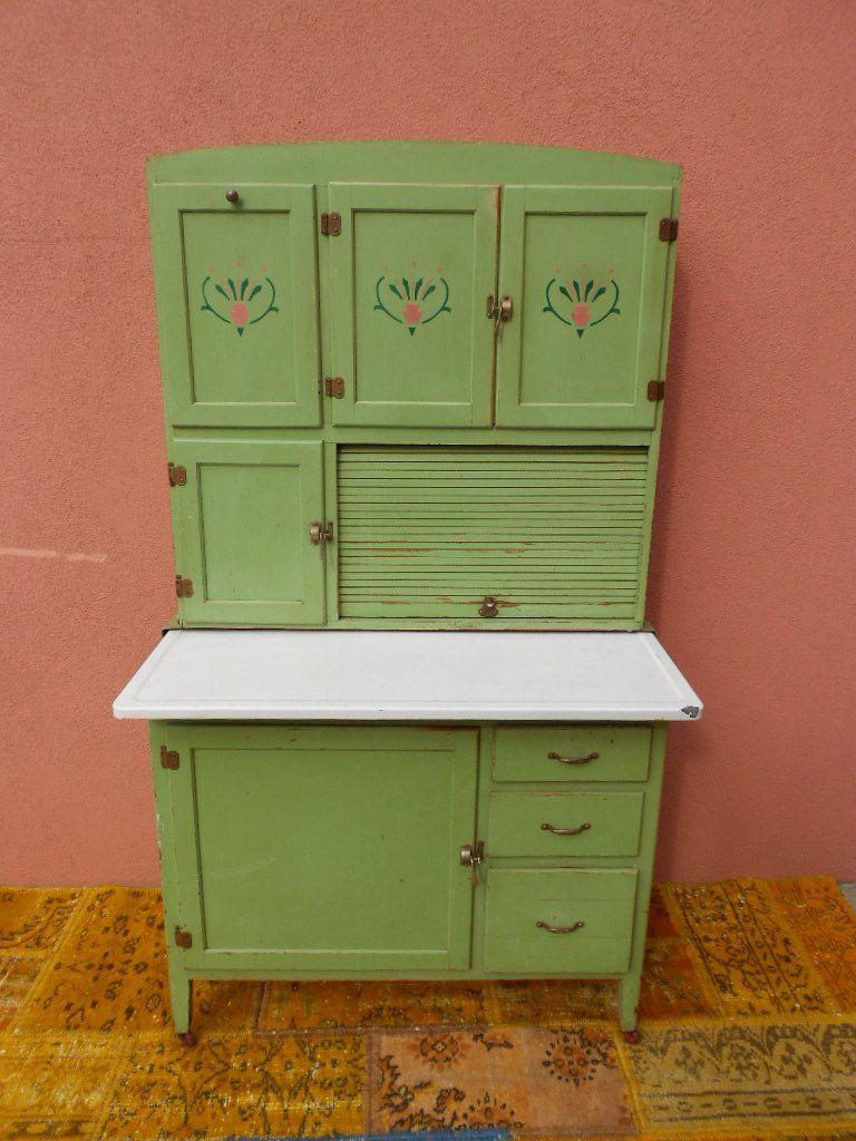 Kitchen Vintage Metal Cabinet Enamel Painted