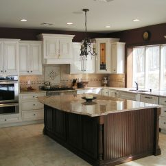 Full Kitchen Cabinets Striped Rug Wood Species Maple And Island