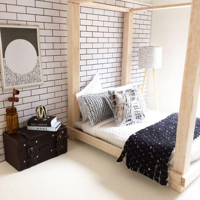 Diy dollhouse furniture modern miniatures miniature bed