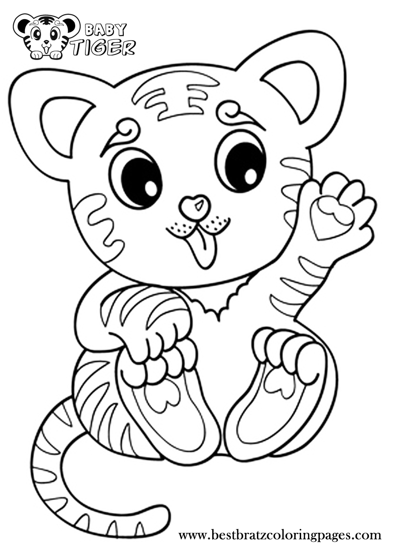 Free coloring pages of a baby tiger