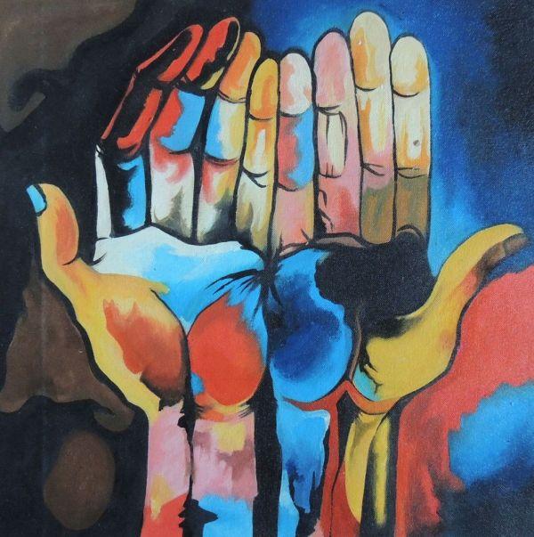 Guayasamin Diversity Hands - Repro Acrylic Abstract