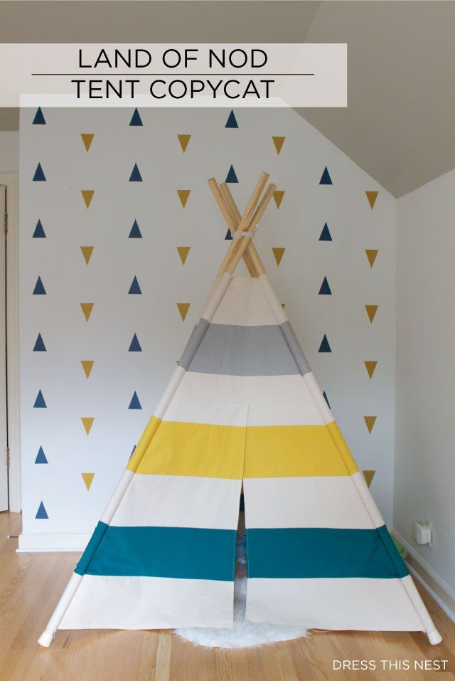I made a teepee for my sons' room inspired by Land of Nod. Find out how here with detailed instructions and a pattern to make it