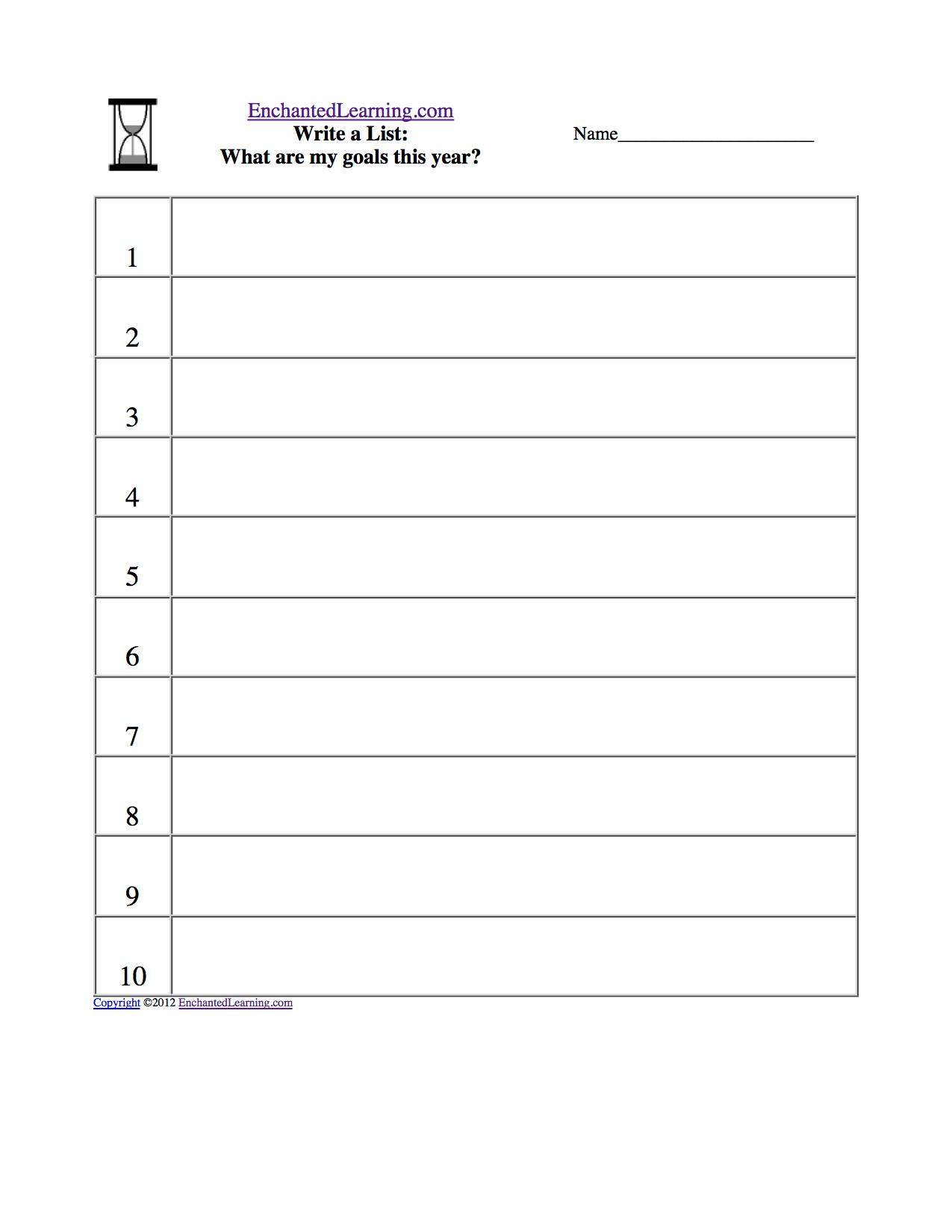 Student Favorites Worksheet