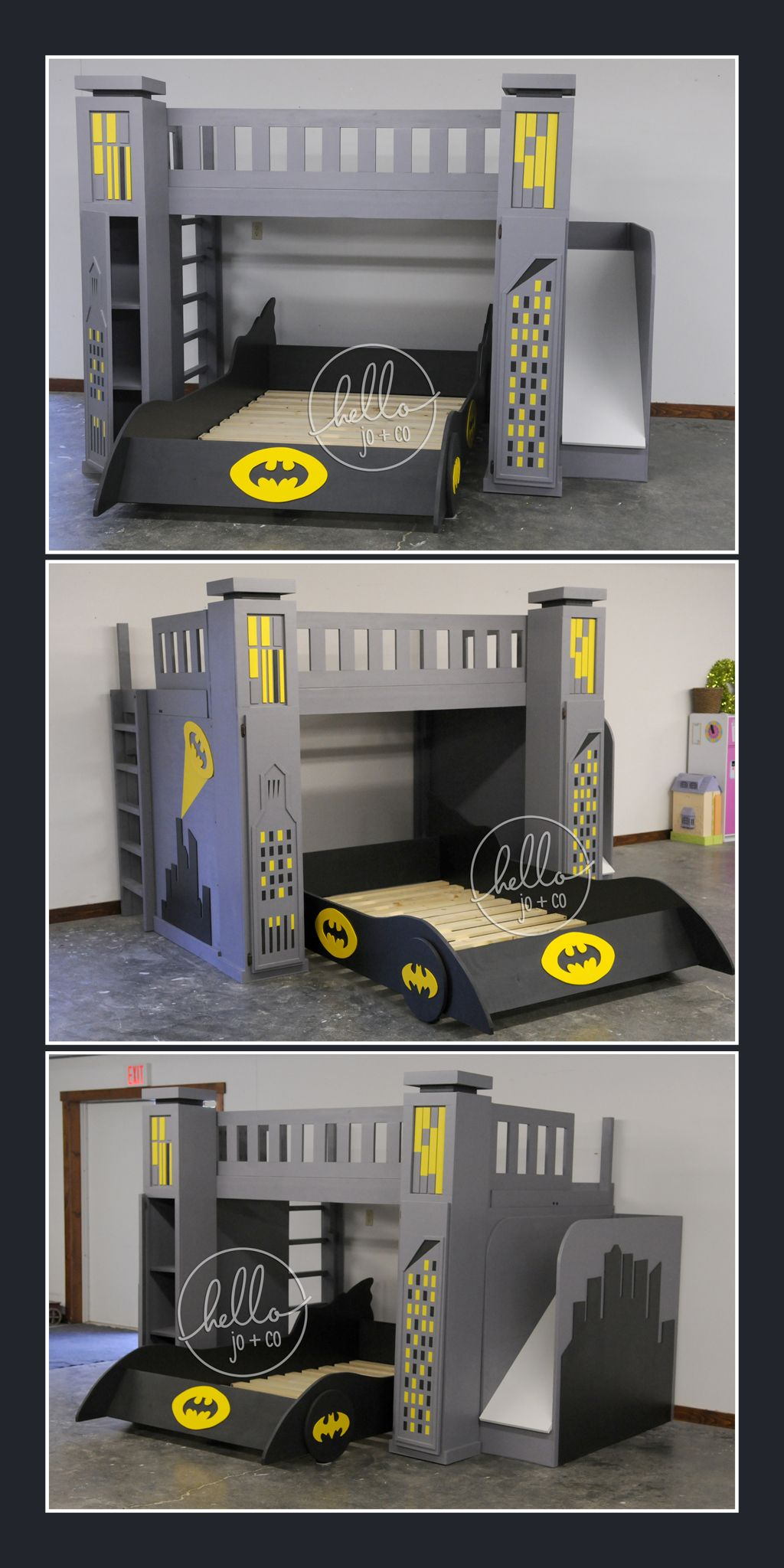 Full Over Full Custom Batman Bed With Slide Storage