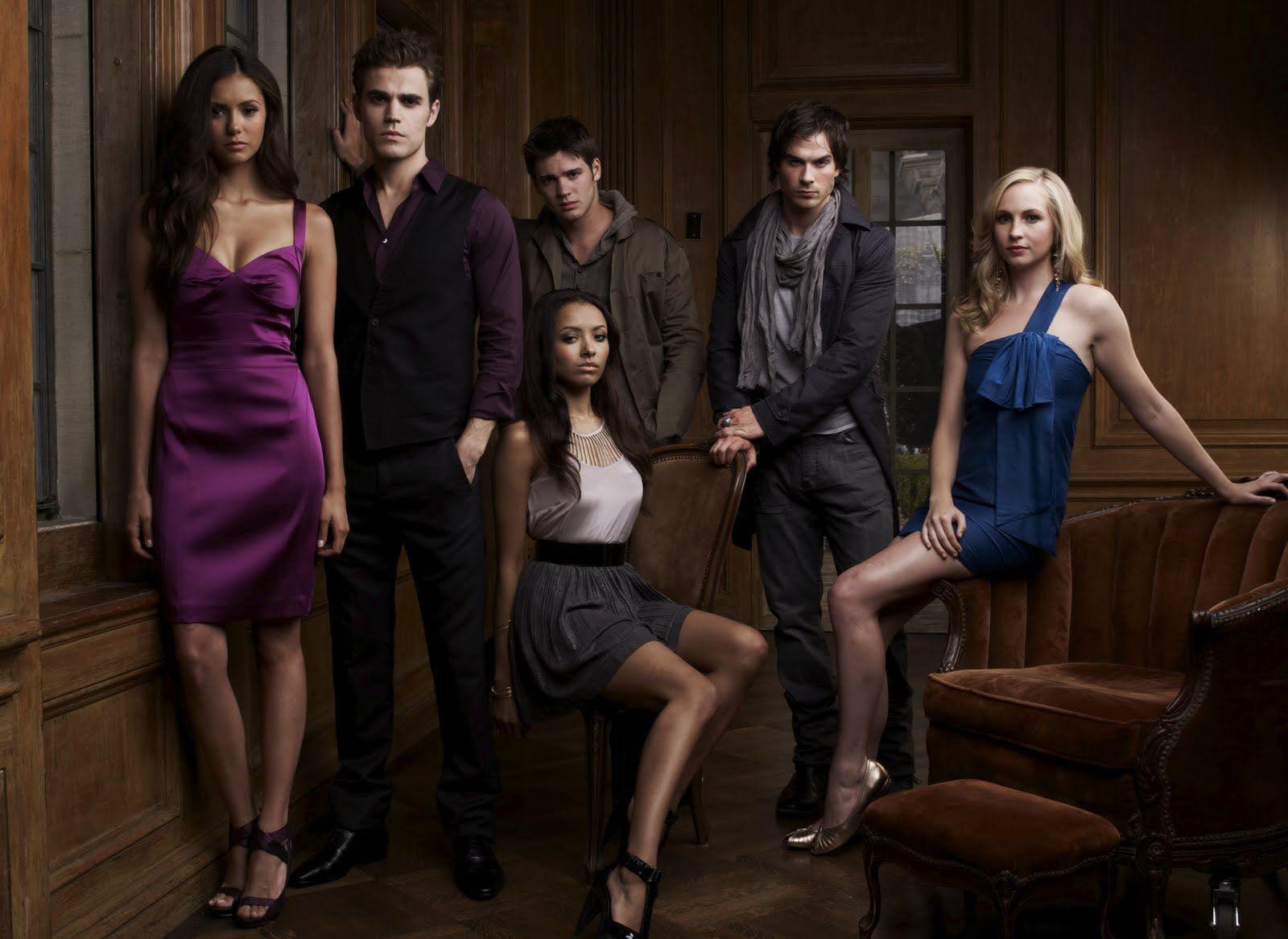 Vampire Diaries Serie Ian Somerhalder Damon Salvatore Nina Dobrev Elena Gilbert Katherine Pierce