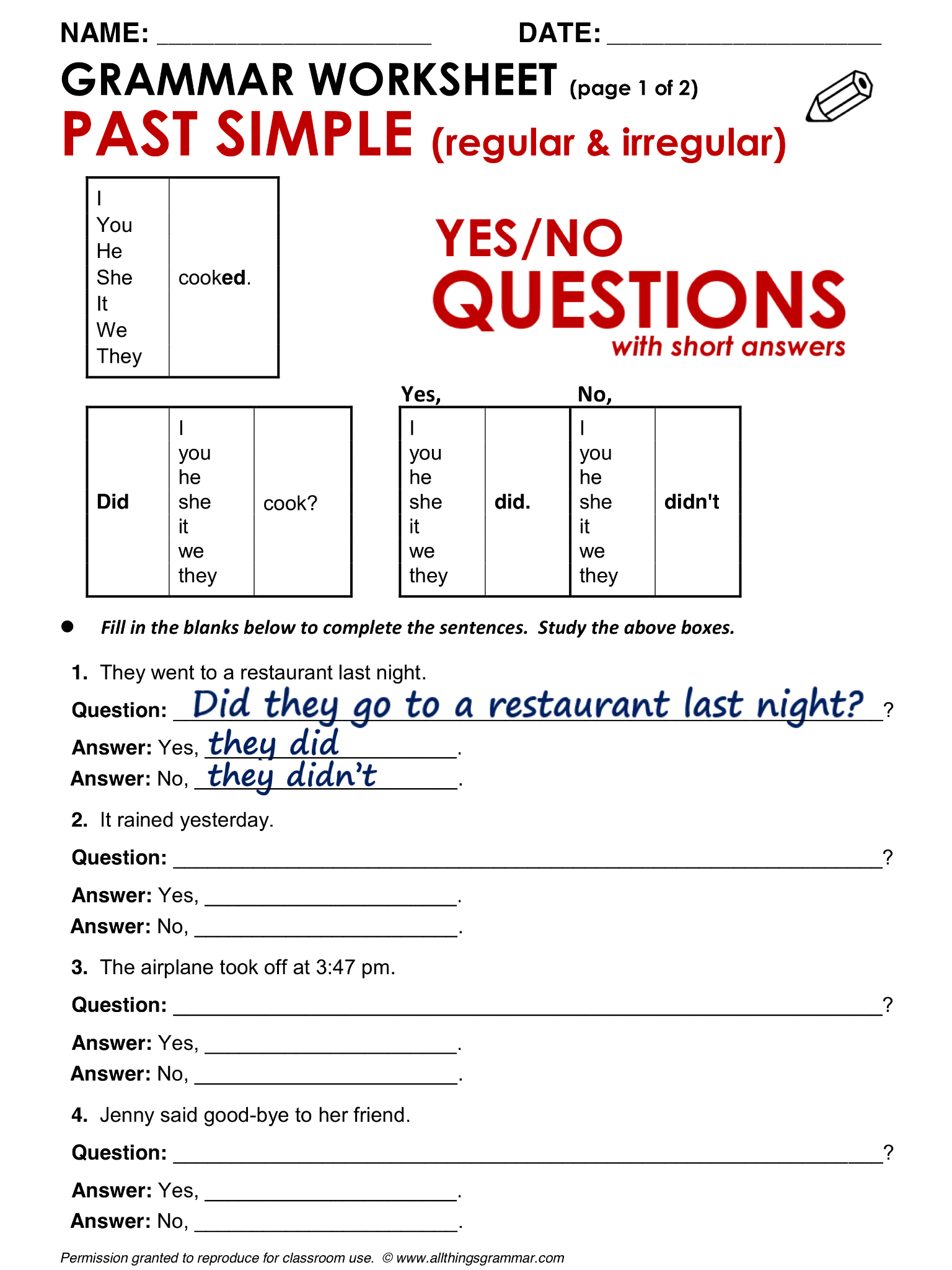 English Grammar Yes No Questions Past Simple Lthingsgrammar Yes No Questions Past