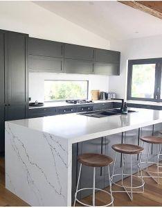 Waterfall bench top modern kitchen designsmodern also     pinterest and kitchens rh