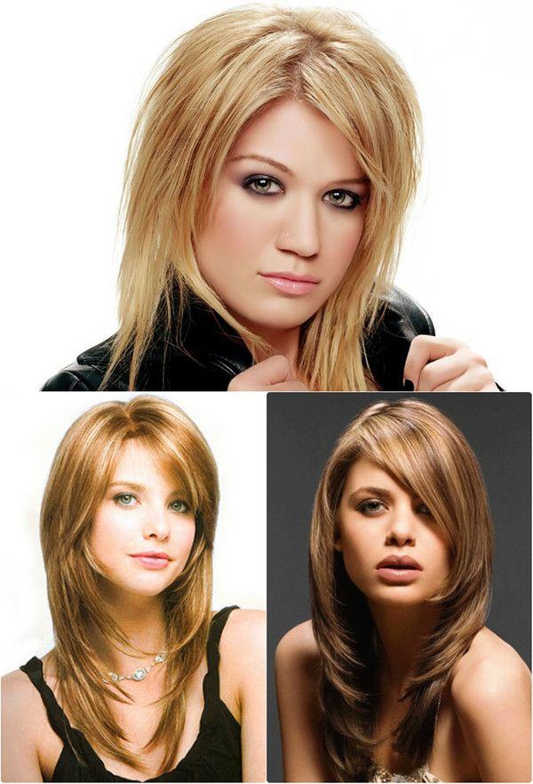 Lange Stufenschnitten Haare Für Runde Gesichter Pinteres