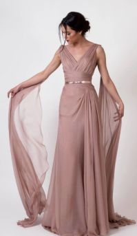 Unique Rose Colored Gold Belted Bridesmaid Dress | Abed ...