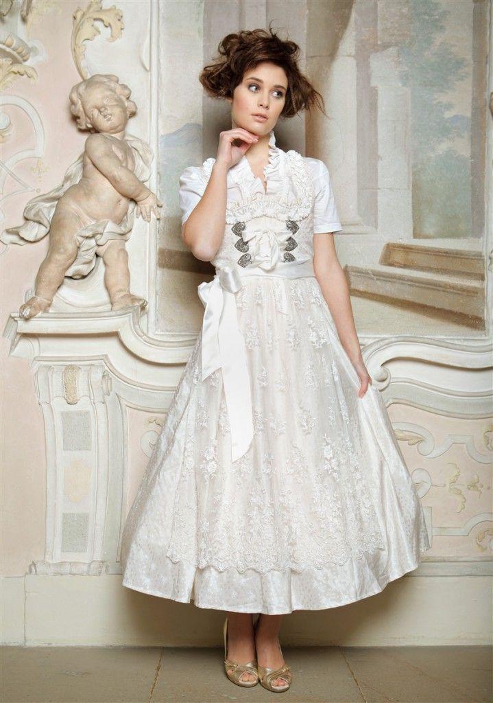 Bride Dirndl White Lace Apron Heart Shaped Bodice Hooks