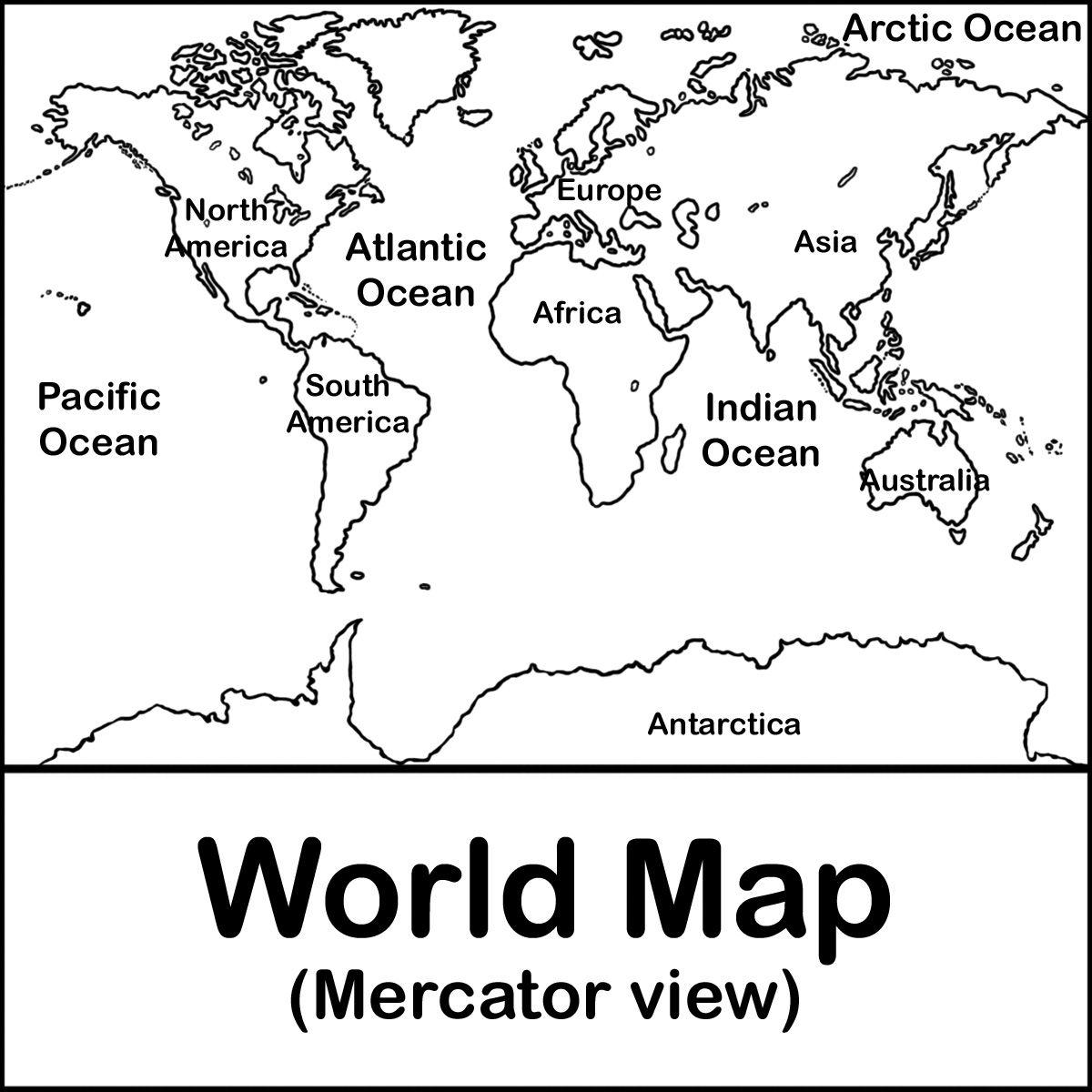 Abcteach Free W World Map Mercator Bw Label