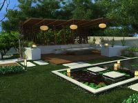 Outdoor and Gardening Designs: Lotus Backyard Pool
