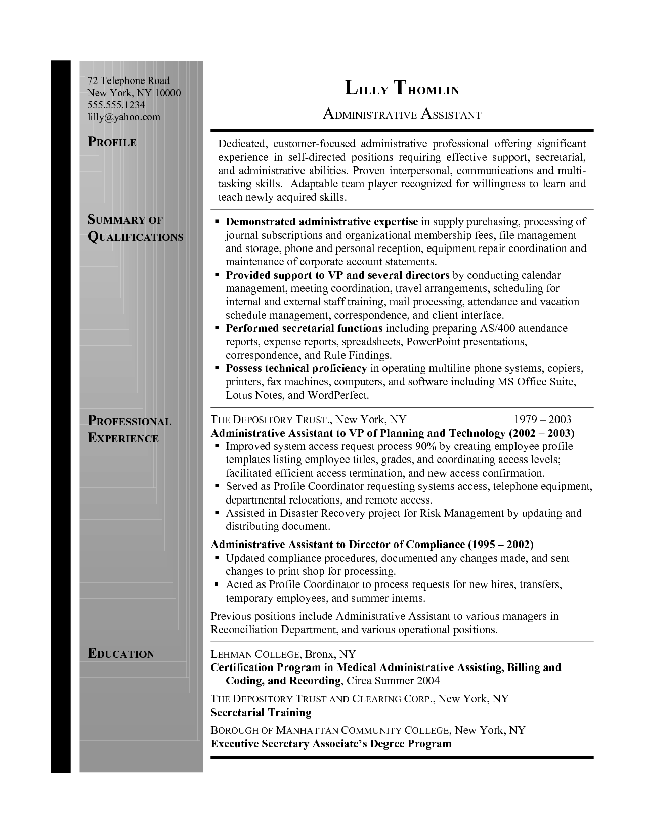 Administrative Assistant Resume Summary Resume Summary Administrative Assistant Administrative
