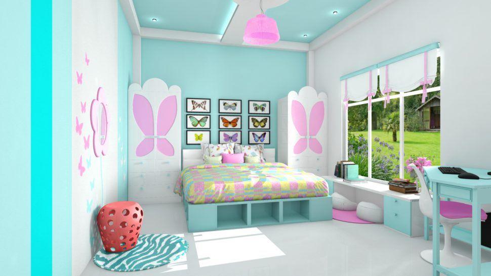 Warna Cat Kamar Tidur Anak Perempuan Biru Muda Pink Abu