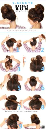 2-minute bubble bun hairstyle