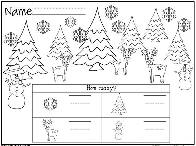 Winter or Christmas Math Worksheet freebie. Students count