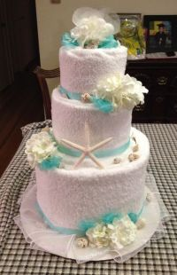 Towel cake( front ) for bridal shower beach theme ...