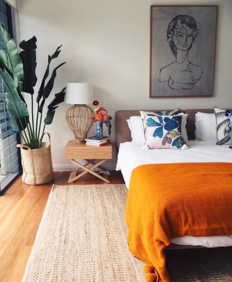 Beautiful bright bedroom with pops of orange also https instagram alidaandmiller hl  den sc pinterest rh