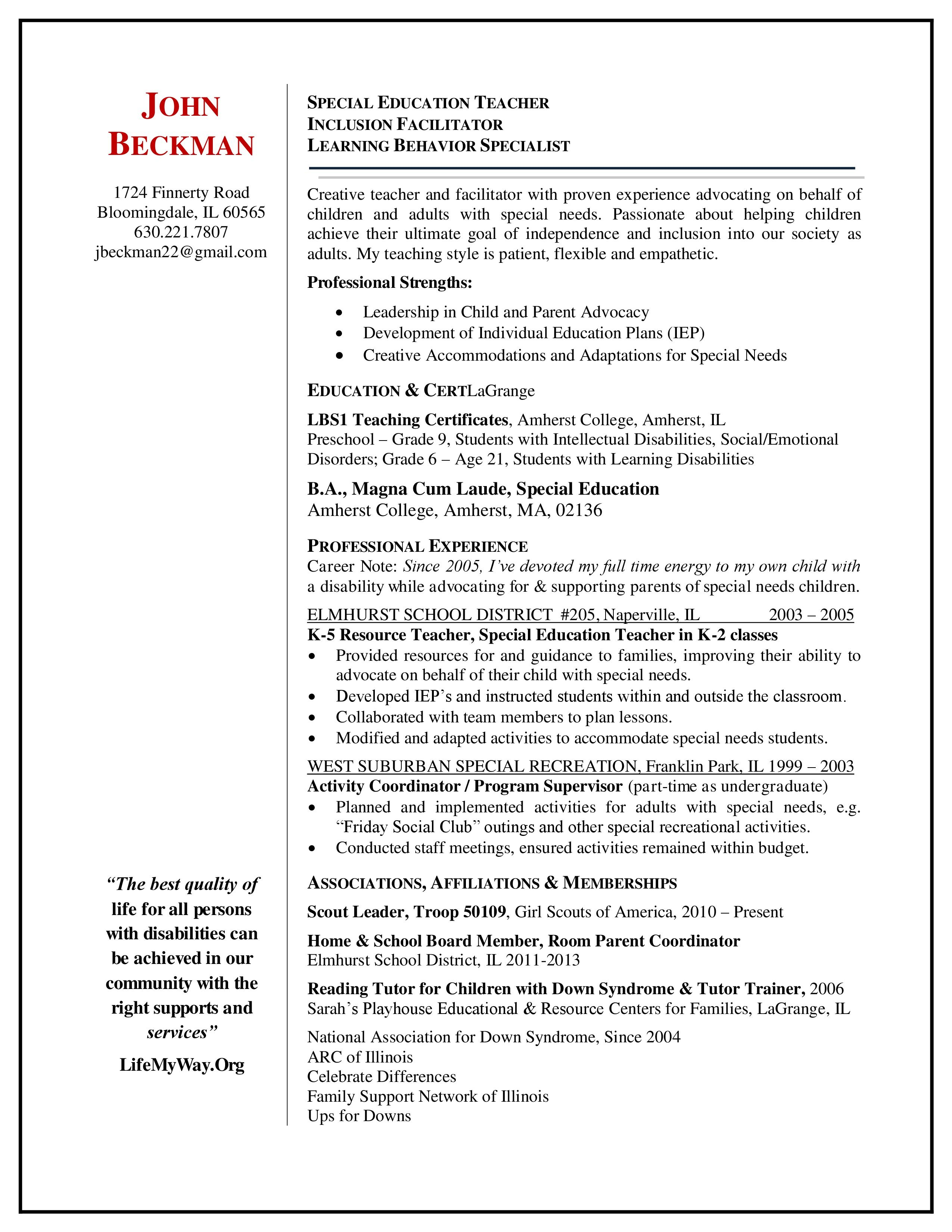 special education resume examples