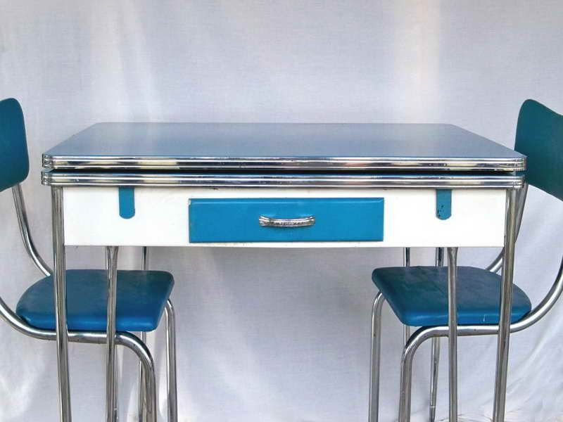 1950s Blue, White & Chrome Kitchen Table and 3 Matching