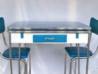 1950s Blue, White & Chrome Kitchen Table and 3 Matching ...