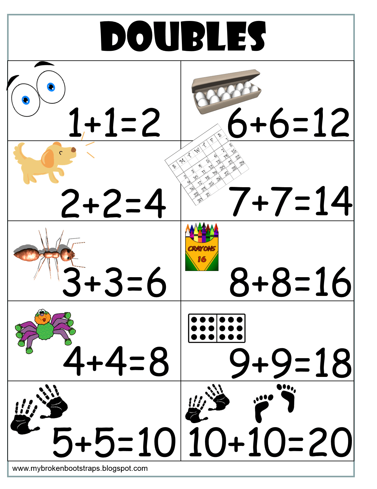 Free Doubles Anchor Chart I Print Them And Put Them In My Students Individual Folders For A