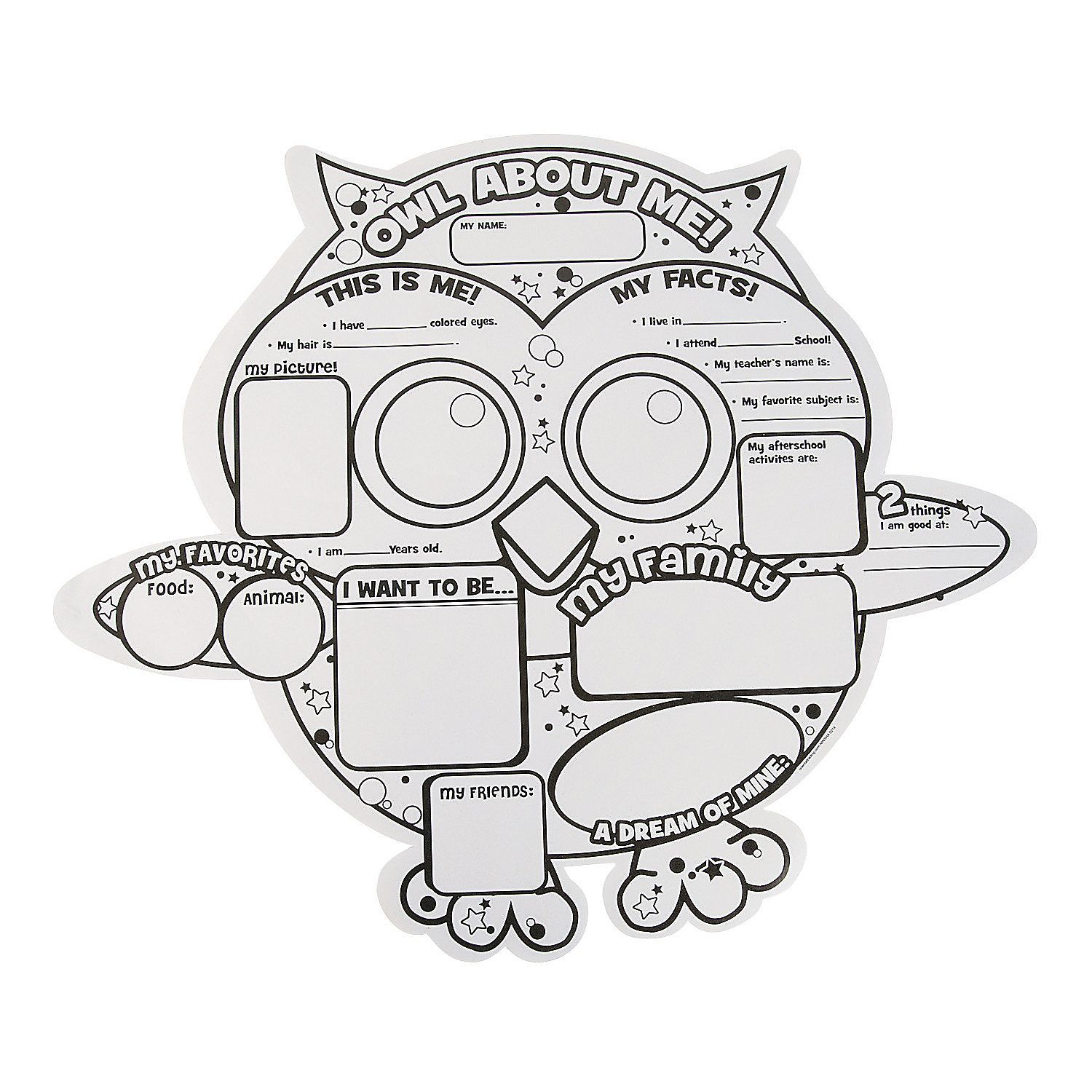 Color Your Own Owl About Me Posters