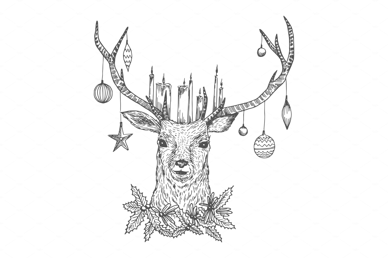 Christmas Sketch Deer