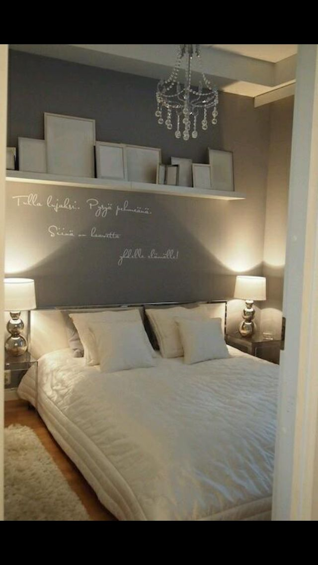 Wall colour all round shelf with gold white and silver frames grey bedding hate the writing on but love also inspired by iceland http alltsemgerirhusadheimili room rh pinterest