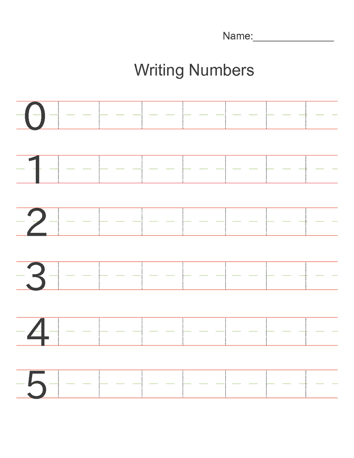 Writing Numbers Worksheets Printable