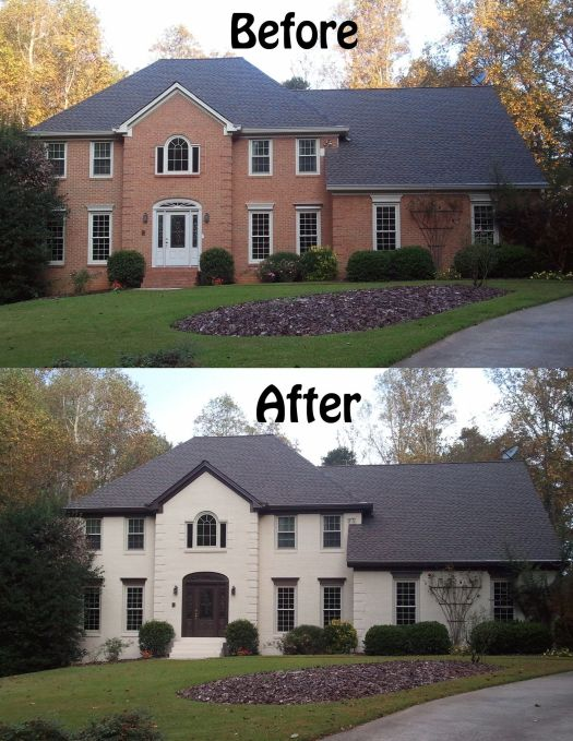 Contemporary Painted Brick Home Exterior Transformation Trending - Review cost to paint outside of house Idea