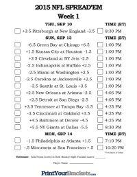 NFL Week 1 Pick 'em Against the Spread Sheets - Printable ...