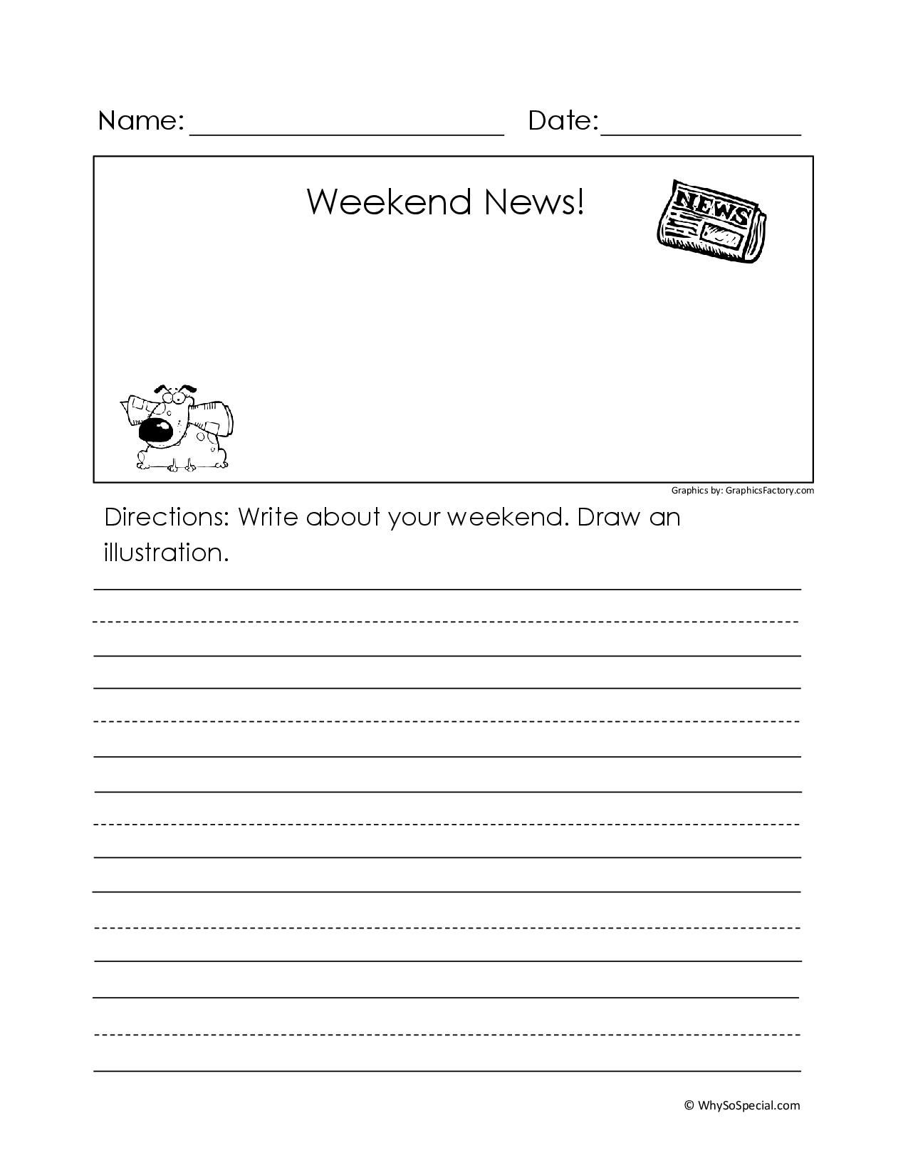 Start Each Monday With Writing Weekend News I Always Give The Writing Prompt This Weekend I