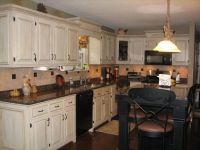 Shabby Chic Kitchen Idea with White Kitchen Cabinets and ...