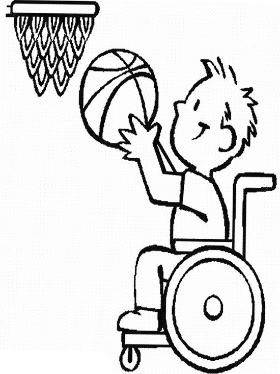 The Child Disabilities Athlete Basketball Coloring Page
