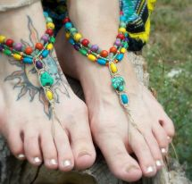 Hippie Barefoot Sandals Colorful Hemp Bottomless