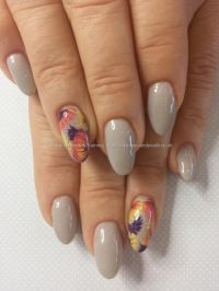 Grey gel polish over gel nails with freehand flower nail ...