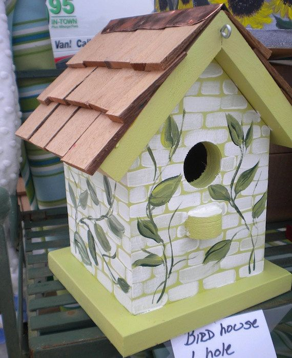 Painted Bird Houses Vines Hand Painted Bird House By