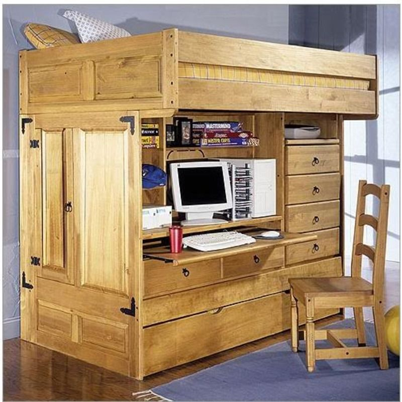loft bed  Kids Twin Bunk Bed With Desk Rustic bunk beds