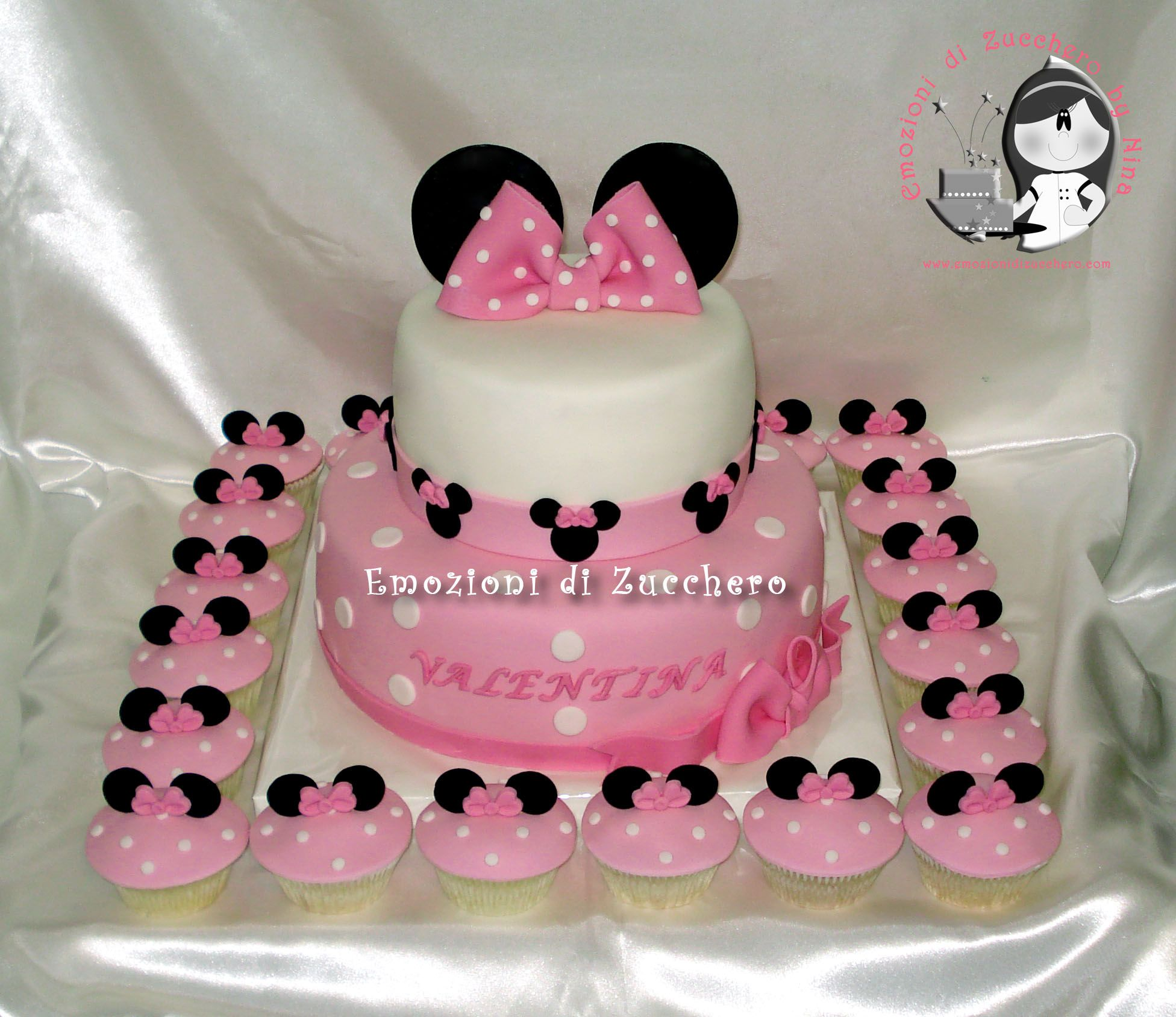 Minnie Mouse Pink Cake And Cupcakes