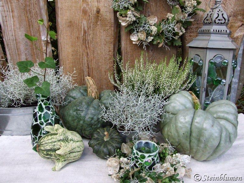 SteinBlumen Krbisdeko  GESTECKE  Pinterest  Autumn