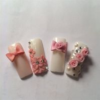 3d Rose And Bow Nails Design