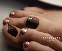 Brown-gold Toe nail art | TOE NAIL ART | Pinterest | Negle