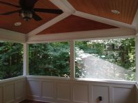 Screen porch with wainscoting knee walls, custom tongue