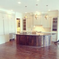 Kitchen Design with Reclaimed Wood on knee wall of island ...