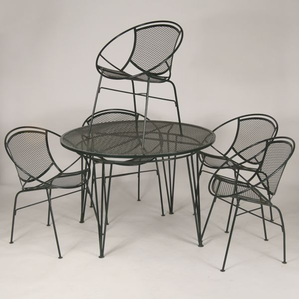 mid century modern mcm wire mesh patio dinette set five circular dining side