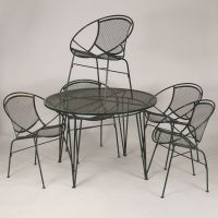 Mid Century Modern / MCM wire mesh patio dinette set. Five ...