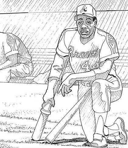 Hank Aaron American Baseball Hall Fame Kids Coloring Pages