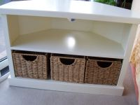 Solid Wooden Corner TV Stand Unit in White with 3 Baskets ...